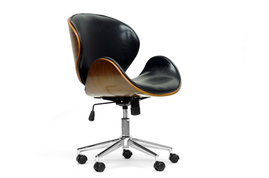 Bruce Walnut Black Office Chair | Baxton Studio