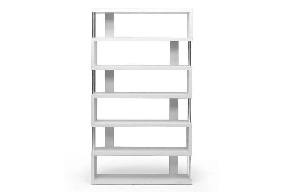 Barnes White Six Shelf Bookcase   Baxton Studio